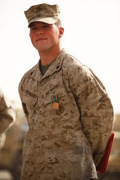 Marine awarded for heroic and lifesaving actions following a vehicle-born IED attack while in Afghanistan. (U.S. Marine Corps photo by Cpl. Paul Peterson)
