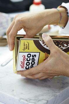 Adding the finishing touches to the Coco Pops Imperial clutch