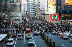 Shinjuku crossing through dirty windows