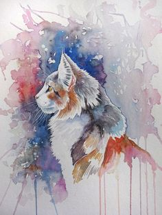 Watercolour painting of a tortoiseshell cat in profile by WatercoloursForSale on Etsy Oil Painting For Sale, Paintings For Sale, Watercolours, Watercolour Painting, Tortoiseshell Cat, Art Tutor, Painter Artist, Red Tulips, Abstract Backgrounds