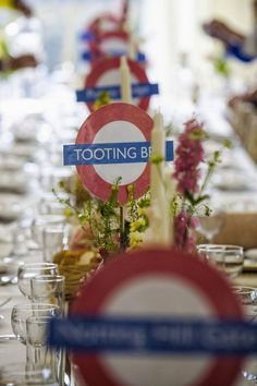 "Brilliant tube table centres #wedding I LOVE this!! a brilliant ""London Underground"" wedding for my bucket list! http://jayemmephotography.com/jay-emme-photography-bucket-list/ Luxury bridal boutique, Trowbridge, #Wiltshire. We stock a wonderful selection of #designer #weddingdressesand run a closed door policy to provide you with the ultimate shopping experience. Find your #dreamdress here with us. www.devlinbridalcouture.co.uk."