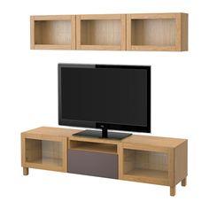 IKEA BESTÅ TV storage combination/glass doors Oak effect/valviken dark brown clear glass 180x20/40x166 cm The drawers and doors have integrated...