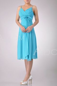 $130 best one yet. So flattering!!! Turquoise Bridesmaid Dresses Chiffon Knee Length A Line -E20580