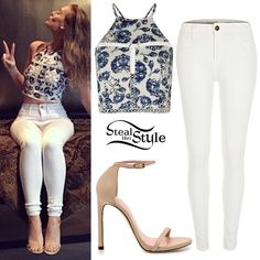 Perrie Edwards posted a picture a couple of days ago wearing a Missguided Floral Print Crop Top ($40.00) River Island White Molly Reform Jeggings ($80.00) and a pair of Stuart Weitzman Nudist Sandals ($398.00).