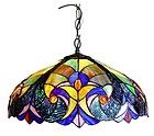 """COLORFUL VICTORIAN PENDANT CEILING LAMP LIGHT FIXTURE STAINED GLASS 18"""" SHADE"""
