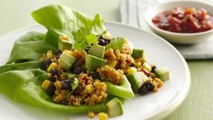 Meixcan Lettuce wraps with black beans and quinoa. Bibb lettuce, also called butterhead lettuce, is a small, loosely formed head with tender, light green leaves.  The soft leaves make great gluten-free wrappers!