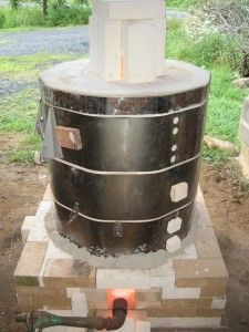 Great way to convert an old electric kiln into gas. In this case, a soda kiln.