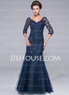Mother of the Bride Dresses - $176.49 - Mermaid V-neck Floor-Length Tulle Mother of the Bride Dress With Lace Beading (008025726) http://jjshouse.com/Mermaid-V-Neck-Floor-Length-Tulle-Mother-Of-The-Bride-Dress-With-Lace-Beading-008025726-g25726