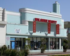 Art Deco building in Los Angeles. Originally the Sontag Drug Store, it later housed the Wilshire Beauty business. .