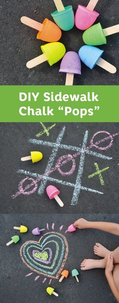 Outdoor fun wouldn't be complete without this craft idea for Sidewalk Chalk Pops. This easy DIY project is perfect for kids big and small—and is surprisingly easy to create! (Diy Projects Clothes)