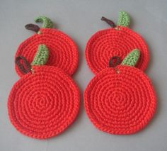 gorgeous! Red Apple Coasters by sabahnur on Etsy