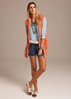 Moda em Crochê: Tendência de cor: laranja - Maxi colete Bobstore