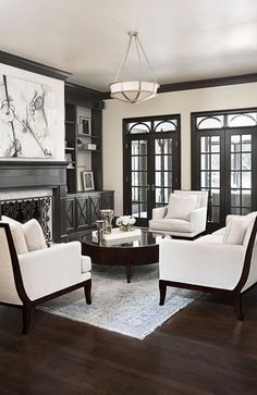 (Photo 1 of Chic, Exquisitely Detailed Living Room ~ Interior Design: Collins Creek, Greenville, SC ~ Linda McDougald Design Formal Living Rooms, Home Living Room, Living Room Designs, Living Room Decor, Living Spaces, Living Room 4 Chairs, Apartment Living, Modern Living, Dark Floor Living Room