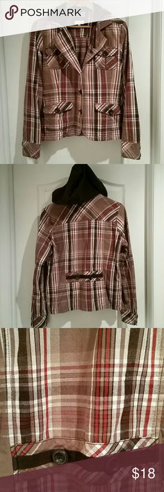 Plaid hooded blazer My mom bought this from another posher, didn't fit, she gave it to me and doesn't fit me either 🙁. Tan, brown,  white and red plaid blazer with brown hood. There are no holes, rips or stains on fabric. Smoke free home. 🎃 I also offer a 10% discount when you purchase 2 or more items from my closet in a single order using the bundle feature. Maurices Jackets & Coats Blazers