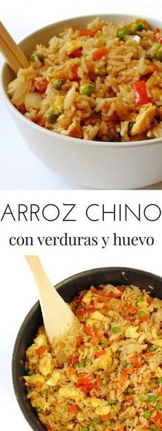 Arroz chino con verduras y huevo Healthy Menu, Healthy Soup Recipes, Veggie Recipes, Asian Recipes, Real Food Recipes, Vegetarian Recipes, Cooking Recipes, Ethnic Recipes, Uk Recipes
