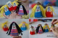 Laleczki z opakowania po jajkach DIY dla dzieci z recyklingu. Dolls made with egg box DIY for children, recycled craft. Diy Projects To Try, Crochet Hats, Knitting Hats