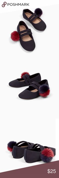 Zara Baby Girl Ballerinas Shoes With Pom Poms 5 Brand new with tags Size:5 For other Zara Baby shoes, please visit my closet. Zara Shoes Dress Shoes