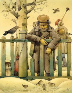 Everyone's expression is perfect.  Even the birds'.  The painting is by Kestutis Kasparavicius