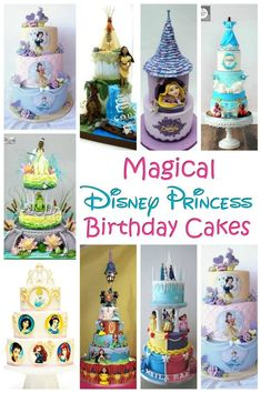 Disney Princess Cake - Throwing a princess party for your little one? You're going to need a birthday cake and these amazing Disney princess cakes will definitely inspire you! Rapunzel Birthday Cake, Disney Princess Birthday Cakes, Rapunzel Cake, Disney Birthday, Disney Princess Kuchen, Princess Dress Cake, Jasmine Cake, Aladdin Cake, Disney Cakes