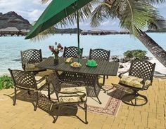 Lancaster x Rectangular Dining (MF) Wicker Dining Set, Dining Chairs, Dining Sets, Outdoor Seat Pads, Outdoor Fabric, Outdoor Lighting, Outdoor Decor, Outdoor Entertaining, Swivel Chair