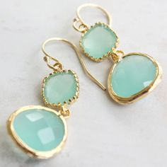 gold and aqua earrings