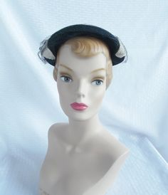 1950's Vintage Navy Blue Hat with Tiny White by MyVintageHatShop, $33.00