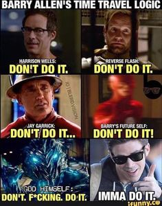 The Flash is one of the most popular CW TV DC comic superhero show. The people who watch the show might have known about the Flash and the timelines. Flash Barry Allen, Superhero Shows, Superhero Memes, Flash Superhero, Dc Memes, Funny Memes, Funny Quotes, Film Meme, Heros Comics