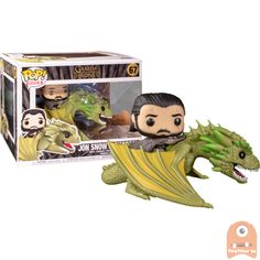 The new Funko Pop! Vinyl Figures from the epic last season Game of Thrones are here!This Jon Snow riding Rhaegal Pop! Ride comes packaged in a window display box, and it's a must have for any Game of Thrones fan! Game Of Thrones Joffrey, Game Of Thrones Figures, Game Of Thrones Jaime, Funko Game Of Thrones, Pop Game Of Thrones, Game Of Thrones Wights, Jon Snow Pop, Game Of Thrones Collectibles, Game Of Throne Daenerys