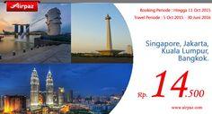 Super Murah ! Rebut promo AirAsia di Airpaz cuma 1 Dollar ! kapan lagi terbang keluar negeri cuma Rp. 14.500 ? Ga percaya? cek sendiri nih http://ow.ly/T0o00  #TiketPesawat #AirAsia #Asia #Singapore #Traveling #Jakarta #Travel #Backpacker #Airpaz #KualaLumpur #Only1Dollar #Bangkok #Backpacking #JalanJalan #LiburanMurah #Liburan #Trip #Holiday #LiburanSeru #TiketMurah #Promo #TiketPromo