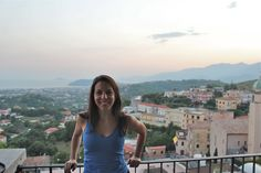 Overlooking Gaeta, Italy from piazza in Minturno at sunset.