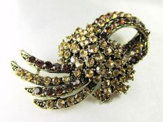 Brown and Gold Topaz Vintage Style Brooch