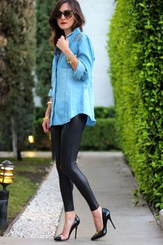 FRANKIE HEARTS FASHION: Wet Look- blue button down with leather leggings and pumps= great from day to night