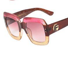 9cf252d3b69 Sunglasses Women Oversize Square Lens Brown Pink Yellow Brown Glitter UV400   fashion  clothing