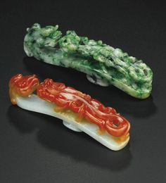 Jade 'chilong' belt hooks & belt buckles, Qing dynasty, 18th-19th century - A.lain R. T.ruong