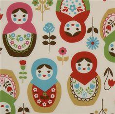 Japanese fabric with many cute colourful big matryoshka dolls and flowers Fabric Patterns, Stitch Patterns, Boutique Kawaii, Modes4u, Matryoshka Doll, Kawaii Shop, Japanese Fabric, Cotton Lights, Cute Pattern