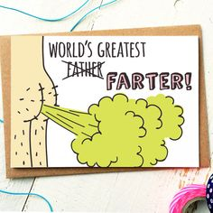 Worlds Greatest Farter Fathers Day Card Dad Card Funny