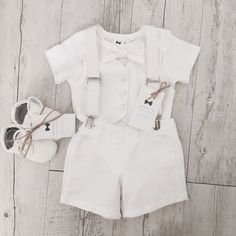 Baby boy summer Baptism outfit with White vest onesie and