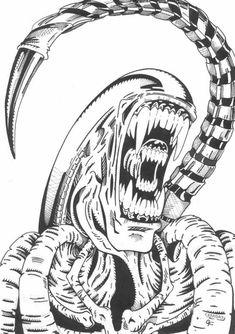 predator alien drawings avp xenomorph drawing aliens tattoo pyrography universe rpg artwork draw movies google horror coloring line comics horn