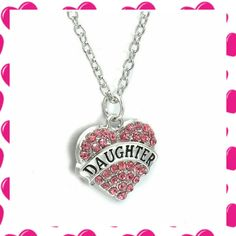 *Daughter* Pink Crystal Heart Necklace