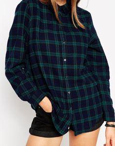 Изображение 3 изASOS Boyfriend Shirt in Black Watch Check