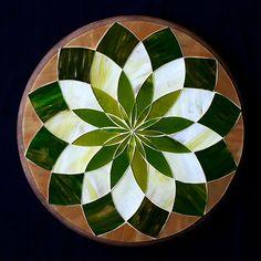 """Prato Giratório """"Mandala Verde"""""""