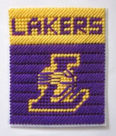 Los Angeles Lakers tissue box cover in plastic canvas PATTERN ONLY. $2.00, via Etsy.