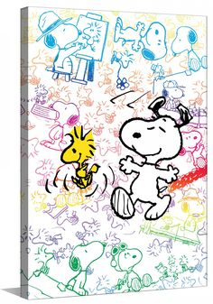 Snoopy illustrated in a rainbow of colors on white wood