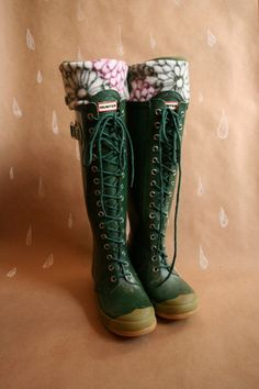 Tall Boot Socks SLUGS, Fleece Rain Boot Liners in Emerald Green with a Floral Cuff, Fall Autumn Winter Fashion, Welly Warmers (Med/Lg 9-11) on Etsy, $24.00