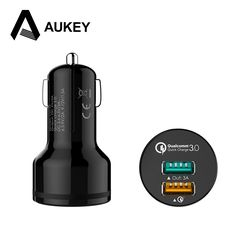 12.63$  Watch now - AUKEY [Qualcomm Certified] Quick Charge 3.0 QC2.0 2-Port USB Car Charger For Apple iPhone Samsung S6 5 Note LG Cell Phone Tablet   #aliexpresschina