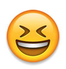 visage souriant avec la bouche ouverte et les yeux bien fermés