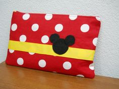 Mickey Mouse / Make Up Bag / Clutch / Red and by Bagsmadetoorder, $16.43