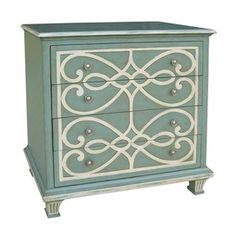 fun design on an otherwise plain chest...im not crazy about blues in my living environment but it looks great on this dresser! I would prefer mine to be black but could live with maybe pink or coral!