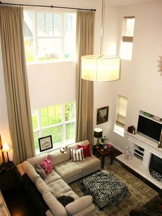 Your Family room...(except with a different curtain...this is what it would look like!) Chic Window Treatment Ideas From Rate My Space : Decorating : HGTV