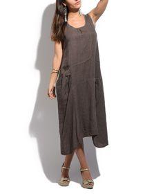 Chocolate Brown Pocket Linen Midi Dress